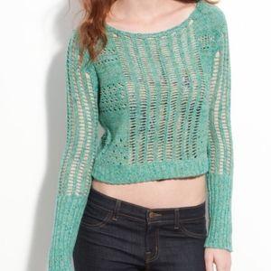 💚💙Free People Green Blue Knit Crocheted Sweater